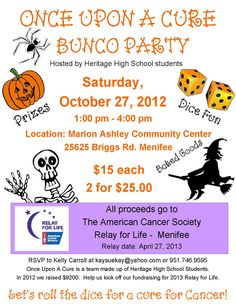 Bunco Party Set to Raise Funds for Relay for Life @Dusty Vaagene you need to get me trained in Bunco so I can do Bunco fundraiser's here in Langdon!!!