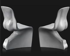 """fabio novembre's """"him and her chair"""" - directly borrowed from verner's panton chair"""