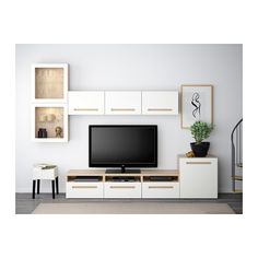 BESTÅ TV storage combination/glass doors - white stained oak effect/Marviken white clear glass, drawer runner, soft-closing - IKEA