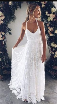 Classy Prom Dresses, White v neck lace long prom dress, white evening dress wedding dress charming bridal dresses Prom Dresses Long Lace Beach Wedding Dress, Backless Wedding, Long Wedding Dresses, Bridal Dresses, Ivory Wedding, White Sundress Wedding, Casual Lace Wedding Dress, Hawaiian Wedding Dresses, White Long Dresses