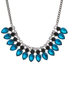 Deep Blue Zircon Teardrop Necklace