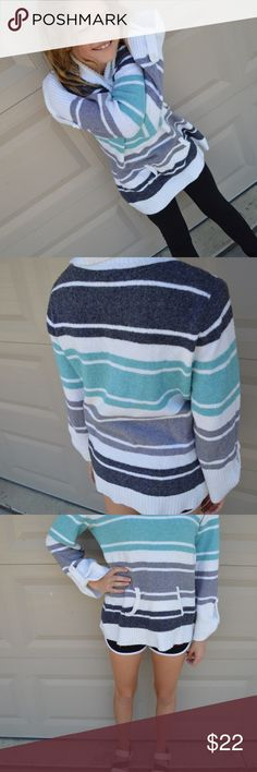 "Cozy Cowl Neck Sweater Super comfortable striped sweater. 41% acrylic, 34% cotton, 22% nylon, 3% spandex. Front waist pocket. 25"" shoulder to hem. 18"" armpit to armpit. Sleeve 17.5"" measured from armpit. Style & Co Sweaters Cowl & Turtlenecks"