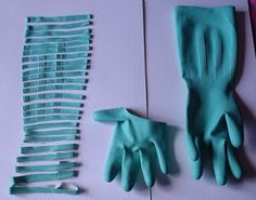 When rubber gloves get worn out cut them up into rubber bands.