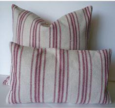 Farmhouse Pillow Red Stripe Grain Sack Pillow Cover Red