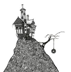 Browse Art pictures, photos, images, GIFs, and videos on Photobucket Dark Artwork, Black And White Artwork, Doodles Zentangles, Zentangle Patterns, Building Drawing, House Drawing, House On A Hill, Halloween Art, Art Pictures