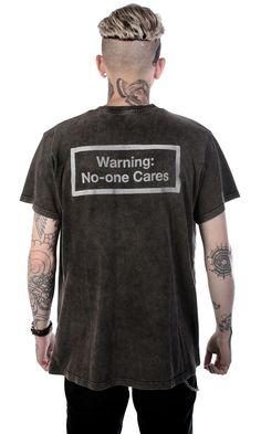 No One Cares T-Shirt #disturbiaclothing disturbia warning washed vinatge metal alien goth occult grunge alternative punk