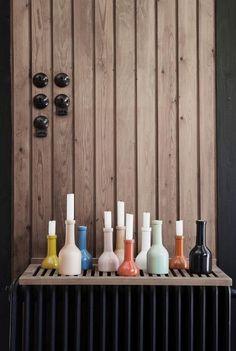 Flaskeformet lysestage fra Ferm Living small og medium hvid og rosa