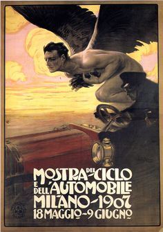 1907 Mostra Ciclo Automobile Milano Men With Wings Italy Vintage Poster Repro & Garden Vintage Italian Posters, Art Vintage, Vintage Travel Posters, Vintage Ads, Vintage Images, Retro Poster, Poster Ads, Club Poster, Car Posters