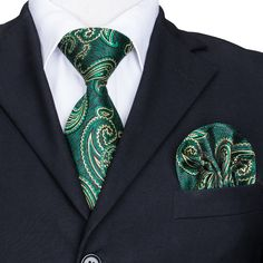 Mens Ties Set,Beautiful ties for men,Luxury Green Paisley Tie Set,love this tie set.