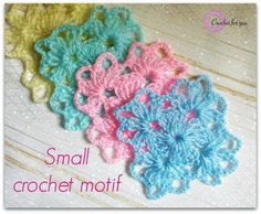 Crochet Squares Granny Design The Small Crochet Motif is so pretty and simple. There are many ways to use them in your crochet designs. - The Small Crochet Motif is so pretty and simple. There are many ways to use them in your crochet designs. Beau Crochet, Crochet Diy, Thread Crochet, Crochet Crafts, Crochet Shawl, Crochet Ideas, Crochet Motif Patterns, Crochet Blocks, Crochet Squares