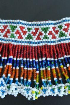 Colorfully beaded vintage choker necklace from the snake charmer Kalbelia (Kalbeliya) Gypsy Tribe of Northern India.