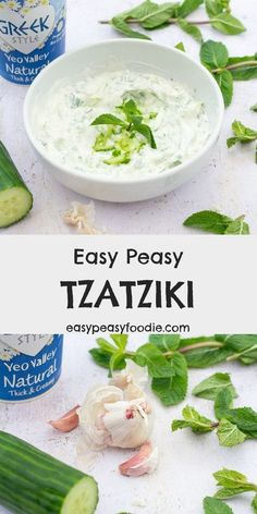 Quick, easy and packed full of flavour – you are going to love my Easy Peasy Tzatziki! This delicious Greek inspired dip is perfect for serving alongside crudités and warm strips of pitta, on top of burgers, inside a wrap or with kebabs… Cucumber Dip, Garlic Dip, Slow Roast, Easy Party Food, Easy Peasy, Easy Dinner Recipes, Sour Cream, Guacamole, Vegetarian Recipes