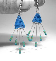 Resistor Earrings Teal Blue Chevron Spray by clonehardware on Etsy, $18.00