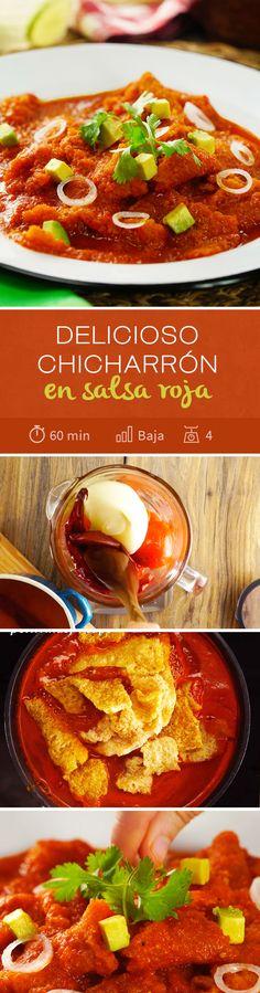 Arma tu taquiza con tu familia estas vacaciones de #verano con esta #recetamexicana de chicharrón de cerdo en salsa roja picosita. ¡No podrás evitar comerte un taco de guisado de este chicharrón!