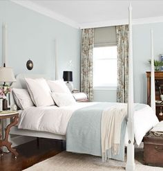 the walls of this bedroom are in Farrow & Ball's Cabbage White No 269. A pale sea foam green color. Looks beautiful with the crips white mill work. Very much beach house without being so themy, and timeless. I am thinking the queen room should be in this color.