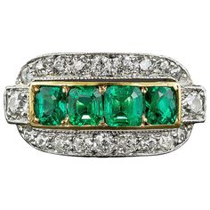 Edwardian Emerald Diamond Ring | From a unique collection of vintage cluster rings at https://www.1stdibs.com/jewelry/rings/cluster-rings/
