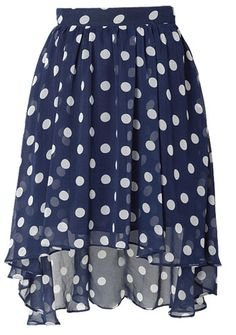 Blue polka dot skirt --- If I wore skirts, this would be right up my alley :) i wore a white skirt with navy polka dots that my Mom made for my going away outfit on my honeymoon ,,,loved it !