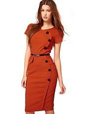 Mulheres gola redonda Negócios Lápis Bodycon Formal Evening Party Dress