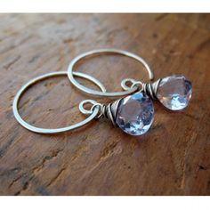 Sparkling Lavender Quartz & Sterling Silver Spiral Drop Earrings