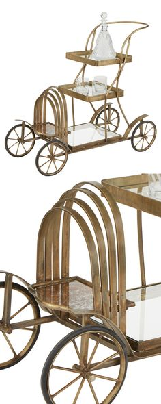 "You""ll feel like impossibly posh with this sophisticated, retro-style server. Wonderfully nostalgic, this Uptown Bar Cart boasts golden-finished iron framing and two pairs of old-fashioned wheels. Its ...  Find the Uptown Bar Cart, as seen in the Modern British Flat Collection at http://dotandbo.com/collections/modern-british-flat?utm_source=pinterest&utm_medium=organic&db_sku=116502"