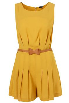 Mustard Pleated Bow Belted Playsuit