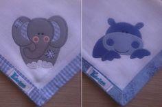Kit Fralda de Boca com 02 unidades em tecido duplo (04 camadas para melhor absorção) 100% algodão com patch apliqué e bainha em tecido.  * As fraldinhas também podem ser personalizadas escolhendo o tema e a cor do tecido para montar o kit. R$ 24,90
