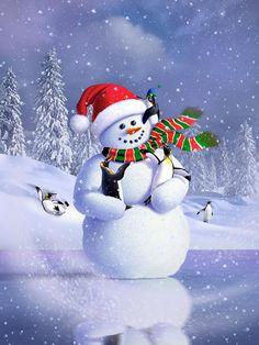 Digital Art - Snowman by Jerry LoFaro , Cute Snowman, Christmas Snowman, Kids Christmas, Christmas Crafts, Christmas Decorations, Snowmen, Snowman Wallpaper, Cute Christmas Wallpaper, Active Wallpaper