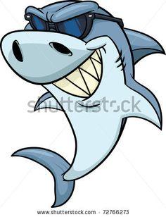 friendly shark paintings for children | Cool cartoon shark wearing shades. Vector illustration. - stock vector