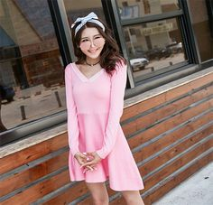 Cheapest Dress Fashionable Long Sleeve Show Thin V Collar Dress Pink