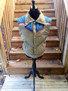 Vintage Obermeyer | Ski Vest | 70s Western Vest | Down | Pointed Collar | Button Up | Red Blue Gray | Fitted Obermeyer Ski | Medium | Large
