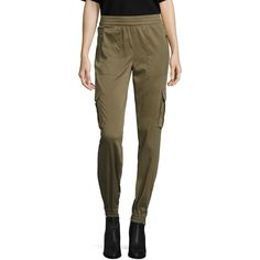 Polo Ralph Lauren Twill Cargo Jogger Pants ($79) ❤ liked on Polyvore featuring pants, apparel & accessories, basic olive, elastic waistband pants, twill pants, army green cargo pants, olive pants and brown cargo pants