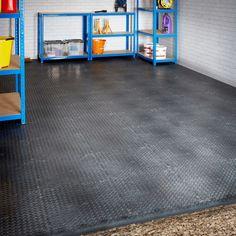 Single Garage Interlocking Floor Tile Set Mega Deal Interlocking Vinyl Flooring, Industrial Shelving Units, Industrial Racking, Outside Tiles, Steel Cupboard, Garage Boden, Eco Friendly Flooring, Garage Shed, Garage Storage