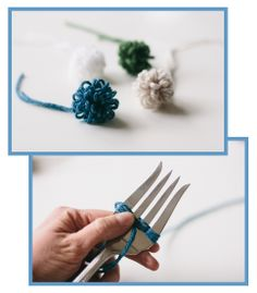 How to make a loopy fork pom pom - tutorial