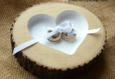 Recessed Heart Ring Bearer Pillow with Ribbon Tie-Down, Rustic Log Ring Dish Wedding Engraved Ring Bearer Pillows, Ring Pillows, Rustic Wedding Rings, Wedding Country, Ring Pillow Wedding, Wedding In The Woods, Ring Dish, Little Man, Etsy