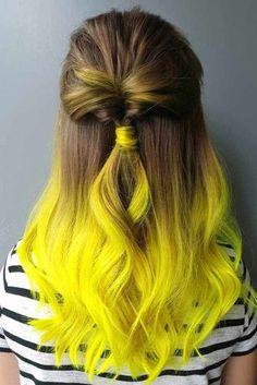 Natural brown and blond ombre hair - Yellow Hair Dye, Hair Dye Colors, Ombre Hair Color, Green Hair, Neon Yellow, Long Purple Hair, Hair Colour, Pretty Hair Color, Beautiful Hair Color