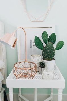 Bedside table decor — love the cactus! Cute Room Ideas, Cute Room Decor, Wall Decor, Pastel Room Decor, Mint Decor, Dream Bedroom, Home Bedroom, Bedroom Furniture, Furniture Ideas