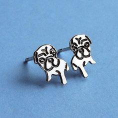 Sterling Silver Watching Pug Earrings