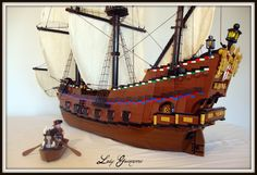 69 Lego Old Ships Ideas – How to build it Lego Pirate Ship, Lego Ship, Pirate Ships, Cool Lego, Awesome Lego, Lego Boat, Big Sea, Amazing Lego Creations, Lego Military