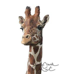 Giraffe Print $15, FREE Shipping. Customize your background color! Giraffe Art, Animals