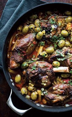 SLOW-ROASTED LAMB SHANK with OLIVES [williams-sonoma]
