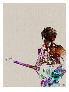 Hendrix With Guitar Watercolor Poster von NaxArt bei AllPosters.de