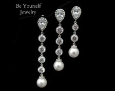 Long Pearl Bridal Earrings Cubic Zirconia by BeYourselfJewelry, $34.99