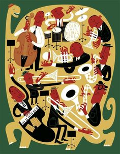 Paul Rogers - For an article in The Playboy Jazz Festival program about the non-extinction of big bands. Music Illustration, Graphic Design Illustration, Drums Wallpaper, Jazz Poster, Jazz Art, Hipster Art, Retro Cartoons, Mid Century Art, Wow Art