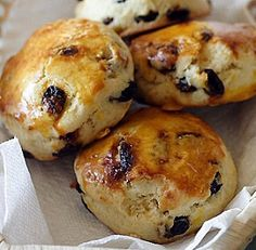 Raisin Scones: I just made these and they are delicious! Needs butter, homemade jam, or for the English, some clotted cream!