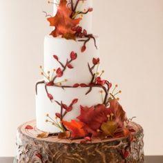 Fall Wedding Cake Flavor Ideas, Fall Wedding Cake Ideas, Fall Wedding Cake Toppers, Fall Wedding Cakes, Fall Wedding Cakes And Cupcakes, Fall Wedding Cakes With Leaves, Fall Wedding Cakes Without Fondant, Small Fall Wedding Cakes #wedding cake #http://bridalscake.com