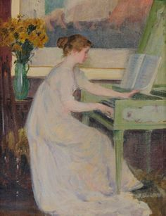 Mary Louise Fairchild (American, 1858-1946), 'Girl Playing a Harpsichord,' 1894, oil on canvas, 30 x 21 in, Morphy Auctions image