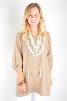 Mocha Tunic with Tassel Detail – Deep South Pout