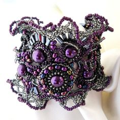 Freeform, freestyle Beaded Cuff Bracelet and beaded ring, purple, lilac, black, silver, ooak jewelry