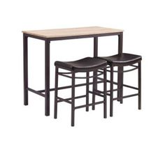 The Betty Three Piece Pub Set is perfect for small dining spaces or kitchen breakfast nooks.  The three piece set includes one table and two matching stools. The table has a brown metal base accented by a rustic blonde top. Each stool features a swooping seat upholstered in black PU. Crafted from MDF Wood and Metal the set is sturdy and durable. Stool weight limit is 275 lbs.