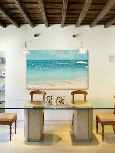 Large canvas artwork of seashore on the beach. Large Scale Gilt Event-  Marmont Hill